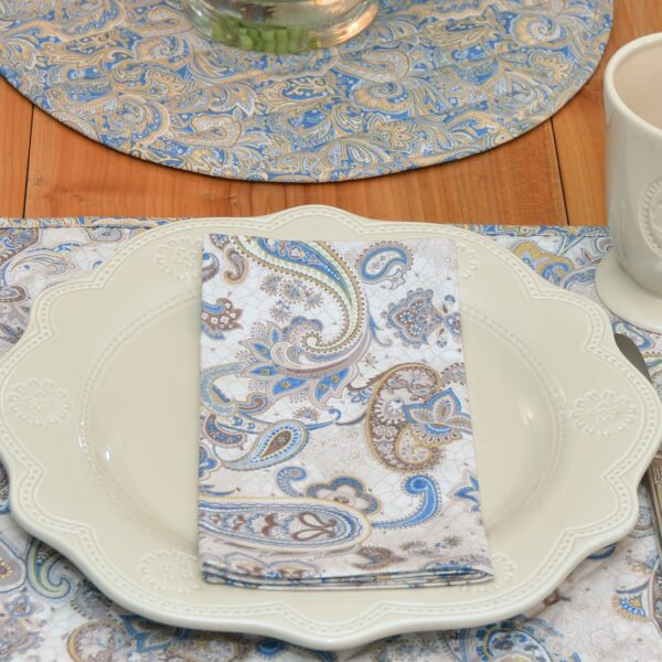 Sweet Pea Linens - Beige & Blue Paisley Print  Cloth Napkin (SKU#: R-1010-W50) - Table Setting