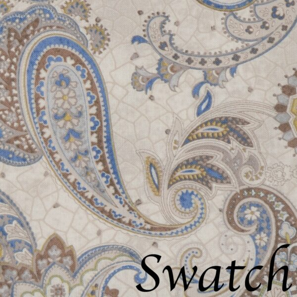 Sweet Pea Linens - Beige & Blue Paisley Print  Cloth Napkin (SKU#: R-1010-W50) - Swatch