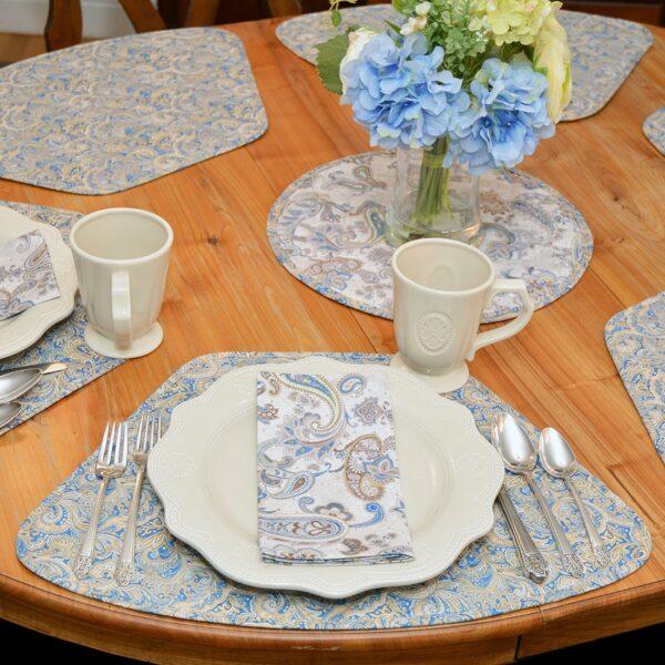 Sweet Pea Linens - Beige & Blue Paisley Print  Cloth Napkin (SKU#: R-1010-W50) - Alternate Table Setting