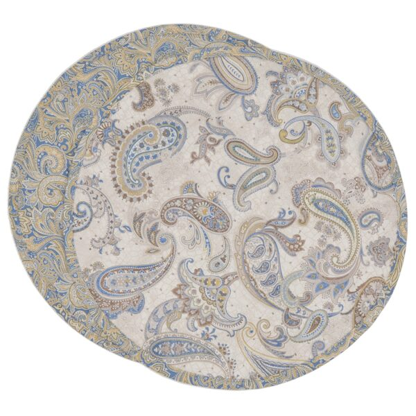 Sweet Pea Linens - Quilted Blue & Beige Paisley Print Charger-Center Round Placemat (SKU#: R-1015-W5) - Product Image