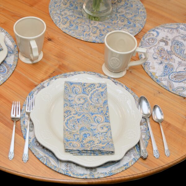 Sweet Pea Linens - Quilted Blue & Beige Paisley Print Charger-Center Round Placemat (SKU#: R-1015-W5) - Table Setting