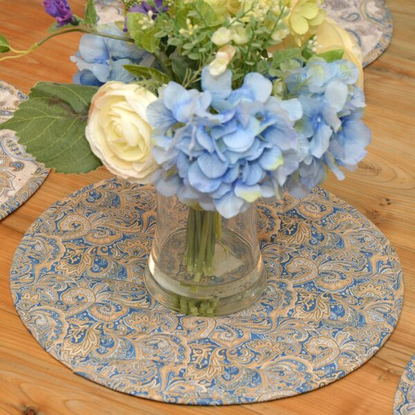 Sweet Pea Linens - Quilted Blue & Beige Paisley Print Charger-Center Round Placemat (SKU#: R-1015-W5) - Alternate Table Setting