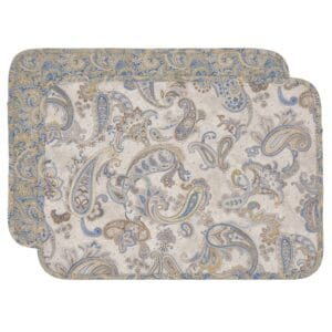 Sweet Pea Linens - Quilted Blue & Beige Paisley Print Rectangle Placemats - Set of Two (SKU#: RS2-1001-W5) - Product Image