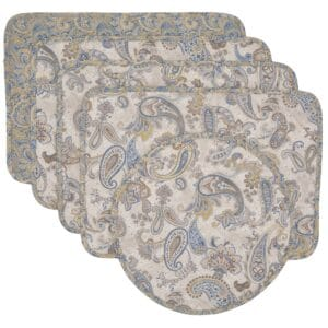 Sweet Pea Linens - Quilted Blue & Beige Paisley Print Rectangle Placemats - Set of Four plus Center Round-Charger (SKU#: RS5-1001-W5) - Product Image