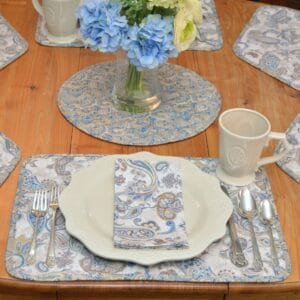 Sweet Pea Linens - Quilted Blue & Beige Paisley Print Rectangle Placemats - Set of Four plus Center Round-Charger (SKU#: RS5-1001-W5) - Table Setting