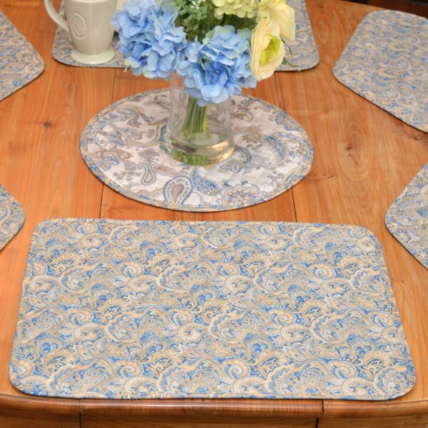 Sweet Pea Linens - Quilted Blue & Beige Paisley Print Rectangle Placemats - Set of Four plus Center Round-Charger (SKU#: RS5-1001-W5) - Alternate Table Setting