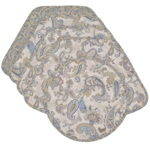 Sweet Pea Linens - Quilted Blue & Beige Paisley Print Wedge-Shaped Placemats - Set of Four plus Center Round-Charger (SKU#: RS5-1006-W5) - Product Image