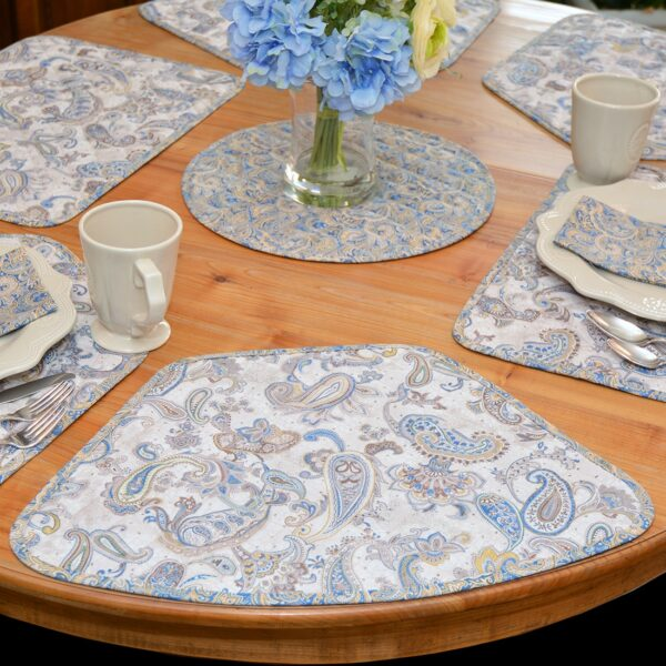 Sweet Pea Linens - Quilted Blue & Beige Paisley Print Wedge-Shaped Placemats - Set of Four plus Center Round-Charger (SKU#: RS5-1006-W5) - Table Setting