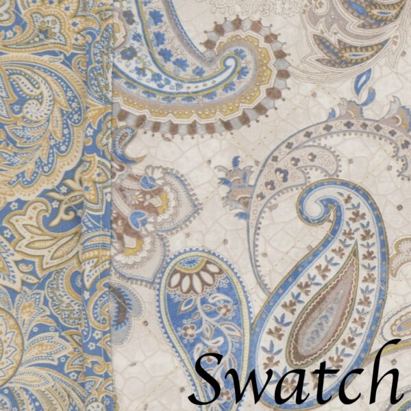 Sweet Pea Linens - Quilted Blue & Beige Paisley Print Wedge-Shaped Placemats - Set of Four plus Center Round-Charger (SKU#: RS5-1006-W5) - Swatch