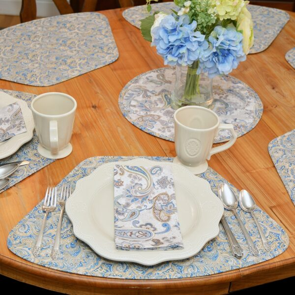 Sweet Pea Linens - Quilted Blue & Beige Paisley Print Wedge-Shaped Placemats - Set of Four plus Center Round-Charger (SKU#: RS5-1006-W5) - Alternate Table Setting