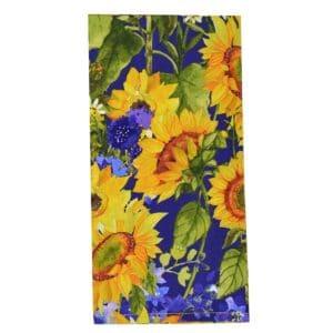 Sweet Pea Linens - Blue & Yellow Sunflower Print Cloth Napkin (SKU#: R-1010-W6) - Product Image