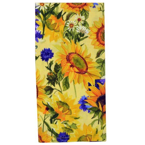 Sweet Pea Linens - Yellow Sunflower Print Cloth Napkin (SKU#: R-1010-W60) - Product Image