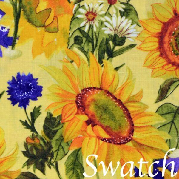 Sweet Pea Linens - Yellow Sunflower Print Cloth Napkin (SKU#: R-1010-W60) - Swatch