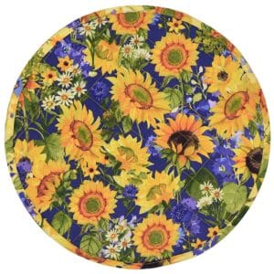 Sweet Pea Linens - Quilted Blue and Yellow Sunflower Print Charger-Center Round Placemat (SKU#: R-1015-W6) - Product Image