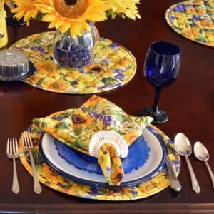 Sweet Pea Linens - Quilted Blue and Yellow Sunflower Print Charger-Center Round Placemat (SKU#: R-1015-W6) - Table Setting
