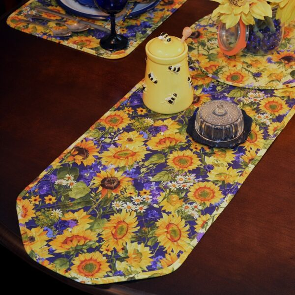 Sweet Pea Linens - Quilted Blue and Yellow Sunflower 60 inch Table Runner (SKU#: R-1021-W6) - Table Setting