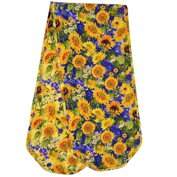 Sweet Pea Linens - Quilted Blue and Yellow Sunflower 60 inch Table Runner (SKU#: R-1021-W6) - Alternate Table Setting