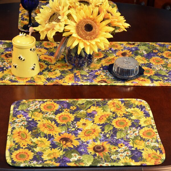 Sweet Pea Linens - Quilted Blue and Yellow Sunflower Print Rectangle Placemats - Set of Two (SKU#: RS2-1001-W6) - Table Setting