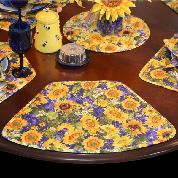 Sweet Pea Linens - Quilted Blue and Yellow Sunflower Print Wedge-Shaped Placemats - Set of Two (SKU#: RS2-1006-W6) - Table Setting