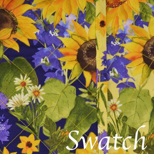 Sweet Pea Linens - Quilted Blue and Yellow Sunflower Print Wedge-Shaped Placemats - Set of Two (SKU#: RS2-1006-W6) - Swatch