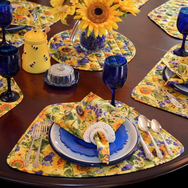 Sweet Pea Linens - Quilted Blue and Yellow Sunflower Print Wedge-Shaped Placemats - Set of Two (SKU#: RS2-1006-W6) - Alternate Table Setting