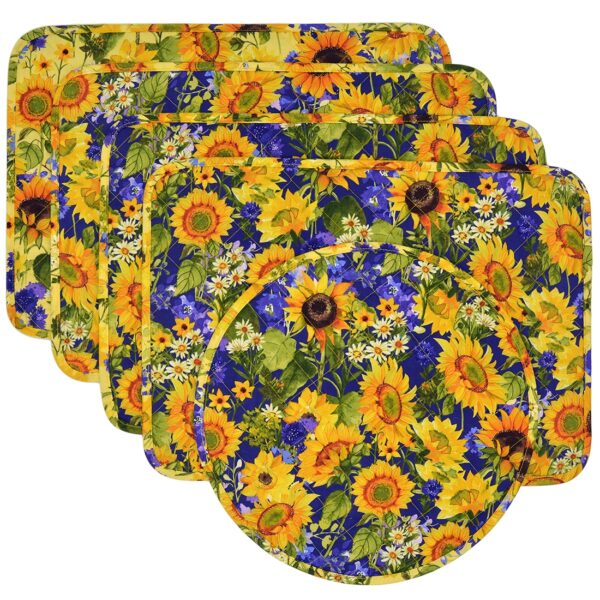 Sweet Pea Linens - Quilted Blue and Yellow Sunflower Print Rectangle Placemats - Set of Four plus Center Round-Charger (SKU#: RS5-1001-W6) - Product Image