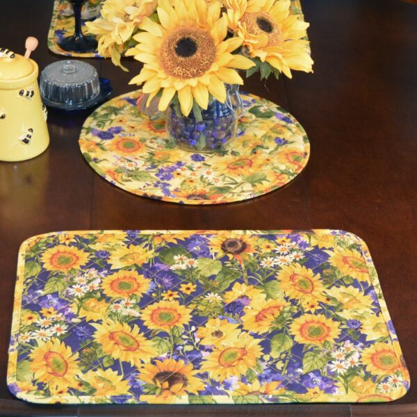 Sweet Pea Linens - Quilted Blue and Yellow Sunflower Print Rectangle Placemats - Set of Four plus Center Round-Charger (SKU#: RS5-1001-W6) - Table Setting