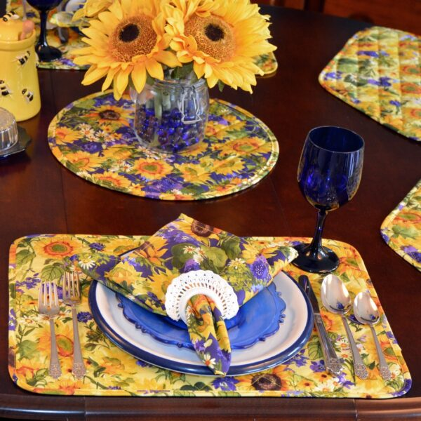 Sweet Pea Linens - Quilted Blue and Yellow Sunflower Print Rectangle Placemats - Set of Four plus Center Round-Charger (SKU#: RS5-1001-W6) - Alternate Table Setting