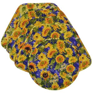 Sweet Pea Linens - Quilted Blue and Yellow Sunflower Print Wedge-Shaped Placemats - Set of Four plus Center Round-Charger (SKU#: RS5-1006-W6) - Product Image