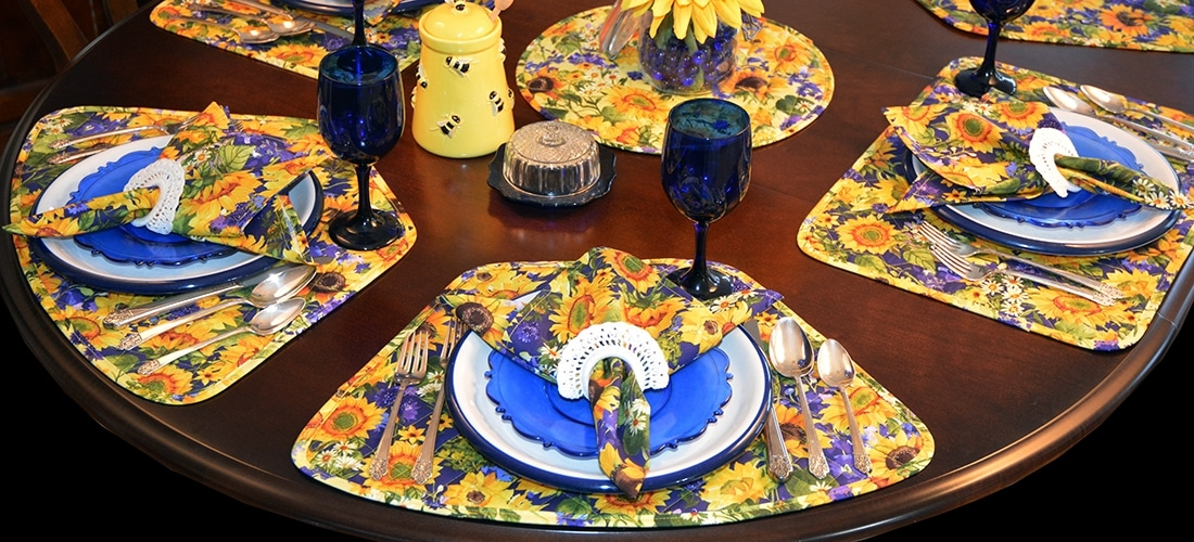 Sweet Pea Linens - Quilted Blue & Yellow Sunflower Table Linen Collection (W6)