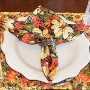 Sweet Pea Linens - Coordinating Fall Leaf Print Cloth Napkin (SKU#: R-1010-X1) - Table Setting