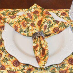 Sweet Pea Linens - Fall Sunflower Print Cloth Napkin (SKU#: R-1010-X10) - Table Setting