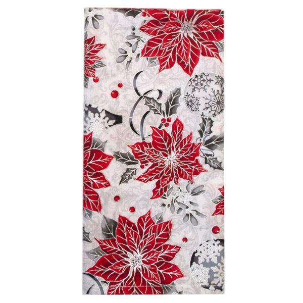 Sweet Pea Linens - Red Christmas Poinsettia Cloth Napkin (SKU#: R-1010-X3) - Product Image