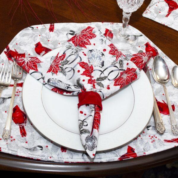 Sweet Pea Linens - Red Christmas Poinsettia Cloth Napkin (SKU#: R-1010-X3) - Table Setting
