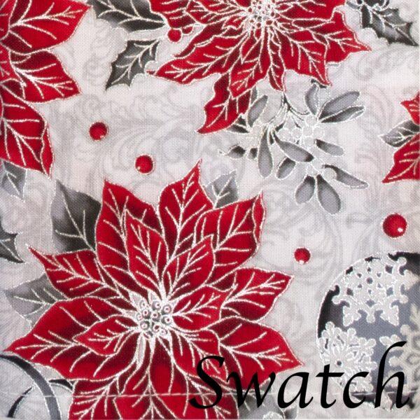 Sweet Pea Linens - Red Christmas Poinsettia Cloth Napkin (SKU#: R-1010-X3) - Swatch