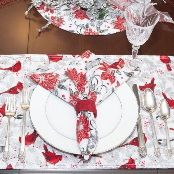 Sweet Pea Linens - Red Christmas Poinsettia Cloth Napkin (SKU#: R-1010-X3) - Alternate Table Setting
