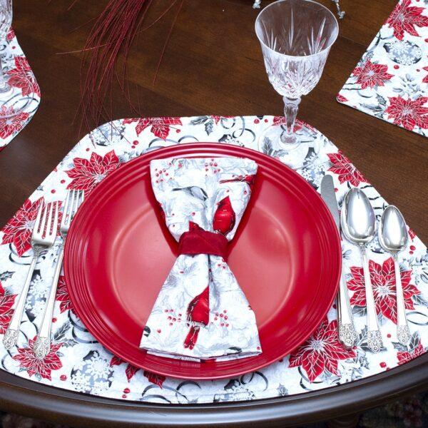 Sweet Pea Linens - Red Christmas Cardinal Cloth Napkin (SKU#: R-1010-X30) - Table Setting