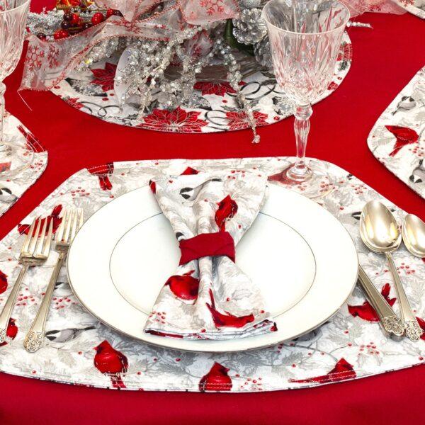 Sweet Pea Linens - Red Christmas Cardinal Cloth Napkin (SKU#: R-1010-X30) - Alternate Table Setting