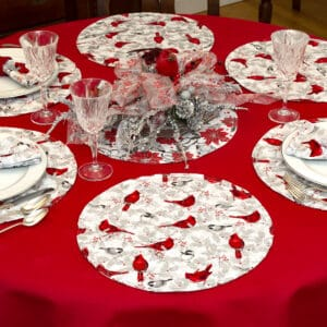 Sweet Pea Linens - Red Christmas Poinsettia & CardinalCharger-Center Round Placemat (SKU#: R-1015-X3) - Table Setting