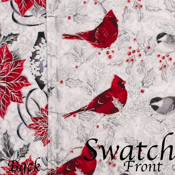 Sweet Pea Linens - Red Christmas Poinsettia & CardinalCharger-Center Round Placemat (SKU#: R-1015-X3) - Swatch