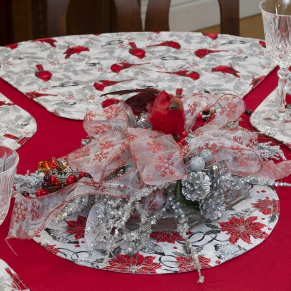 Sweet Pea Linens - Red Christmas Poinsettia & CardinalCharger-Center Round Placemat (SKU#: R-1015-X3) - Alternate Table Setting