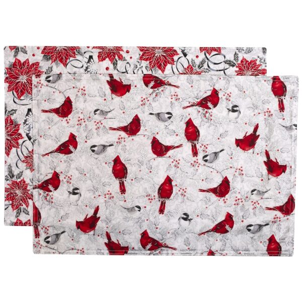 Sweet Pea Linens - Red Christmas Poinsettia & Cardinal Rectangle Placemats - Set of Two (SKU#: RS2-1002-X3) - Product Image