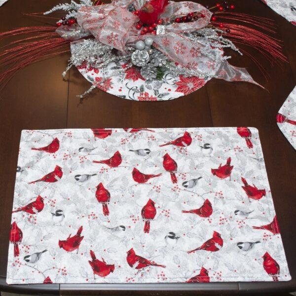 Sweet Pea Linens - Red Christmas Poinsettia & Cardinal Rectangle Placemats - Set of Two (SKU#: RS2-1002-X3) - Alternate Table Setting
