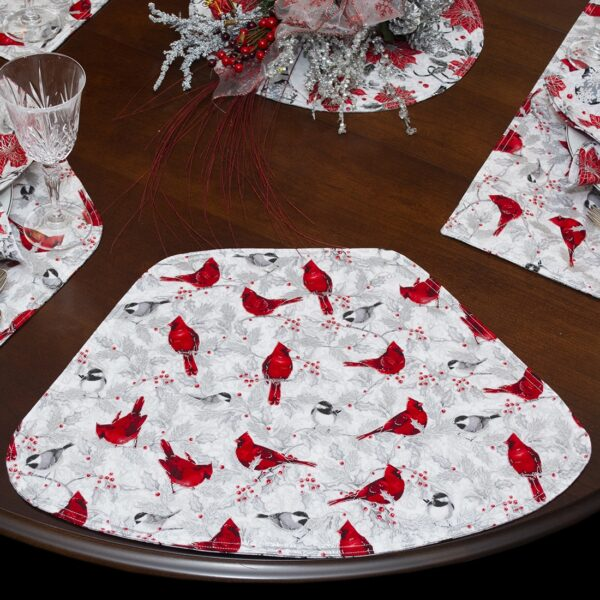 Sweet Pea Linens - Red Christmas Poinsettia & CardinalWedge-Shaped Placemats - Set of Two (SKU#: RS2-1006-X3) - Table Setting