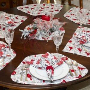 Red Christmas Poinsettia & Cardinal Table Linen Collection