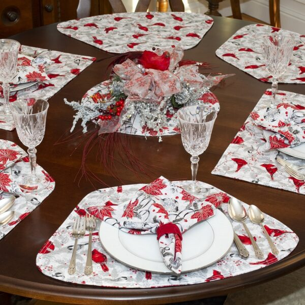 Sweet Pea Linens - Red Christmas Poinsettia & CardinalWedge-Shaped Placemats - Set of Two (SKU#: RS2-1006-X3) - Alternate Table Setting