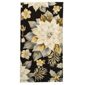 Sweet Pea Linens - Black, Silver & Gold Christmas Poinsettia Cloth Napkin (SKU#: R-1010-X4) - Product Image