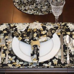 Sweet Pea Linens - Black, Silver & Gold Christmas Poinsettia Cloth Napkin (SKU#: R-1010-X4) - Table Setting
