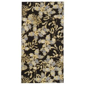 Sweet Pea Linens - Black, Silver & Gold Christmas Holly  Cloth Napkin (SKU#: R-1010-X40) - Product Image