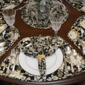 Sweet Pea Linens - Black, Silver & Gold Christmas Holly  Cloth Napkin (SKU#: R-1010-X40) - Table Setting